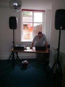 Alan from Sound Alert AV prepares for the disco.